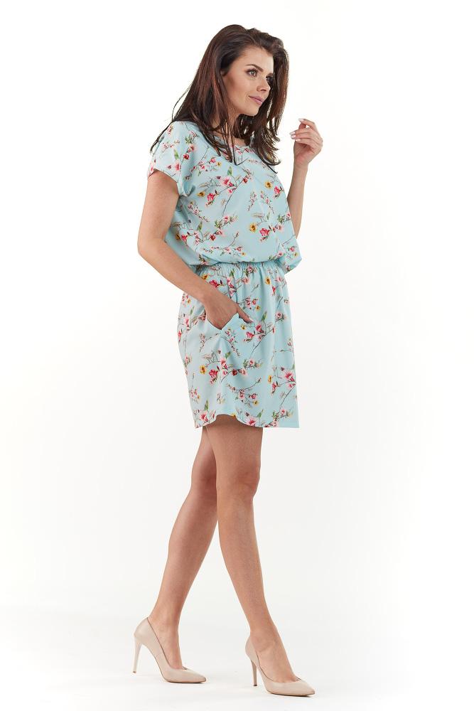 CM3739 Subtelna sukienka z krótkim rękawem - niebieska