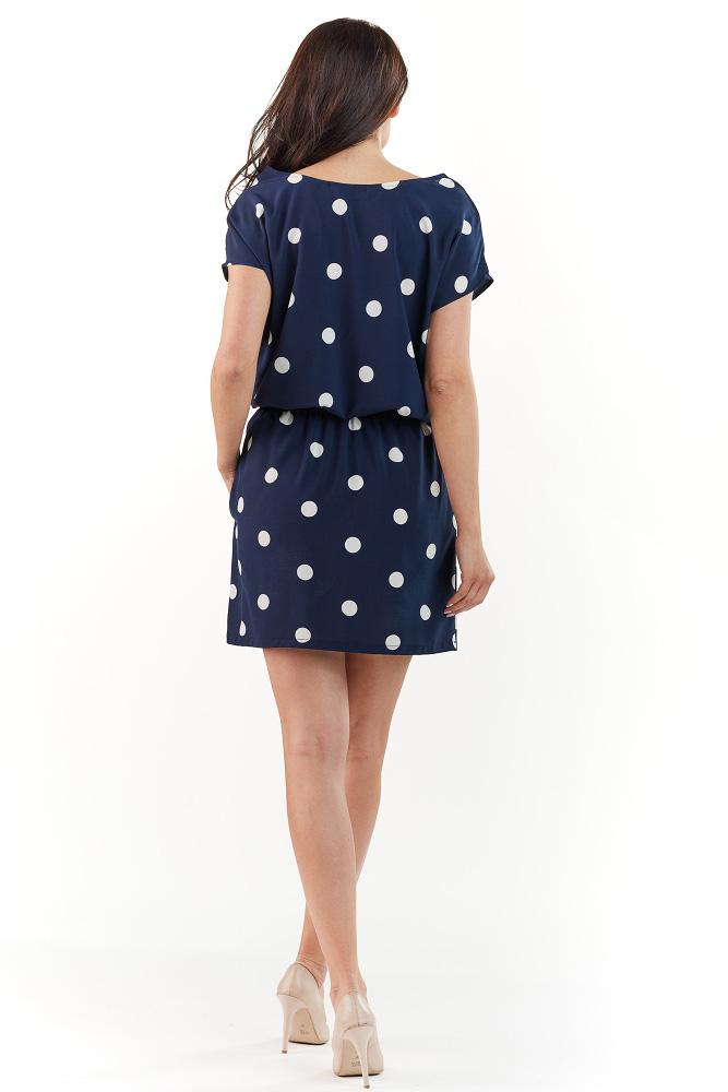 CM3739 Subtelna sukienka z krótkim rękawem - granatowa