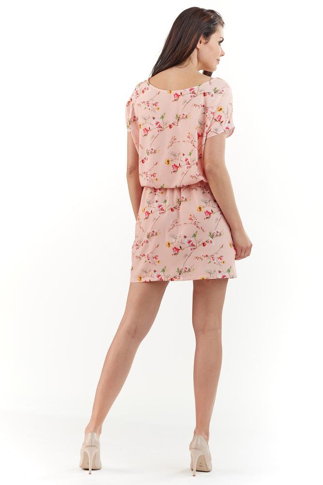 CM3739 Subtelna sukienka z krótkim rękawem - różowa