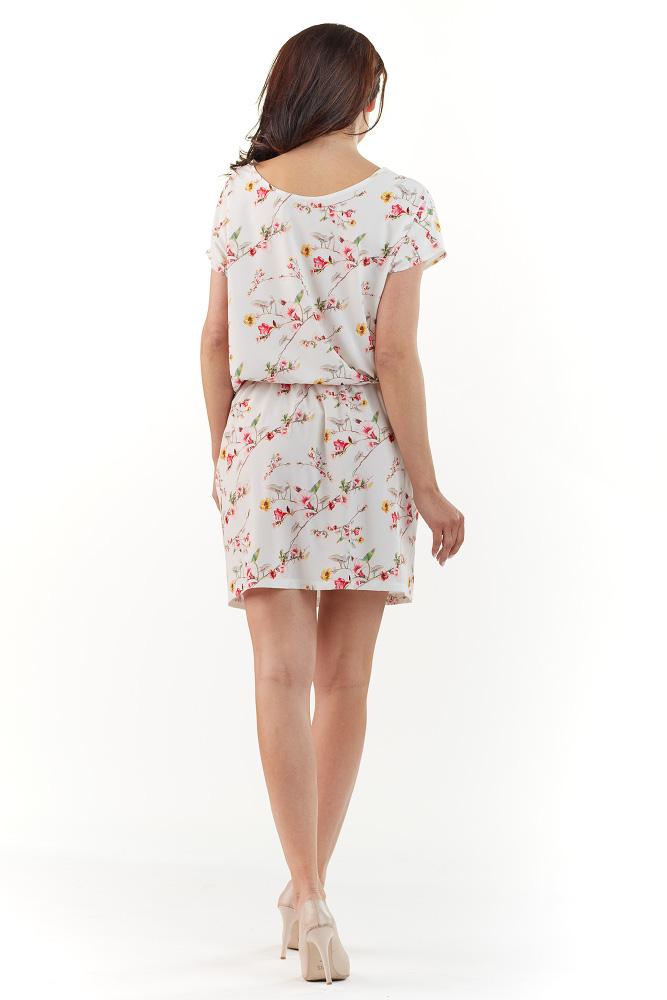 CM3739 Subtelna sukienka z krótkim rękawem - ecru