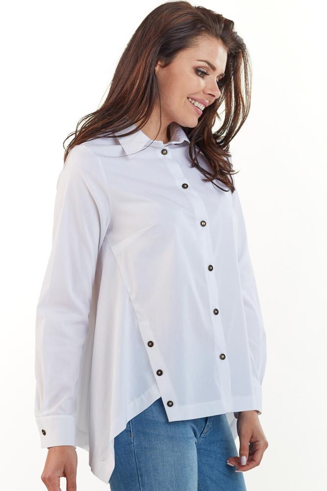 CM3740 Klasyczna koszula z kołnierzykiem na guziki - biała
