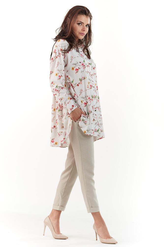 CM3741 Długa koszula z falbanką z tyłu - ecru