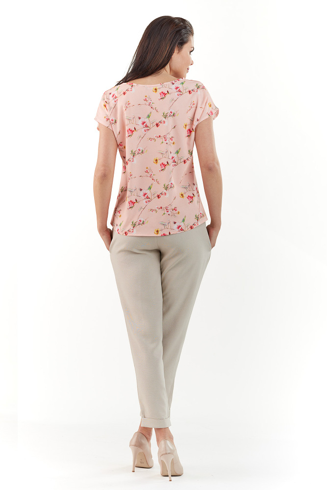 CM3752 Klasyczna bluzka z krótkim rękawem - różowa
