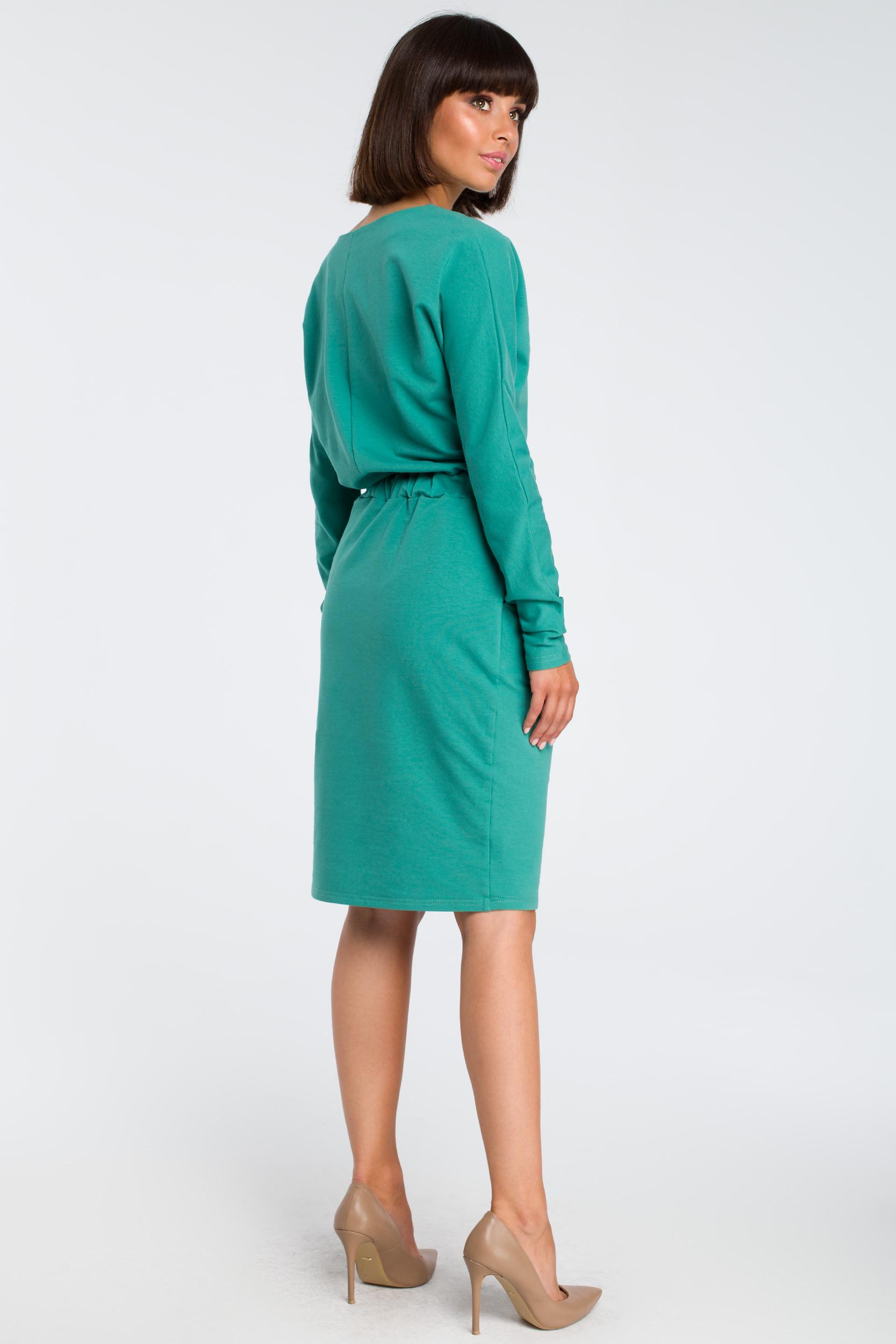 CM3443 Sukienka z gumą w pasie i długimi rękawami - zielona OUTLET