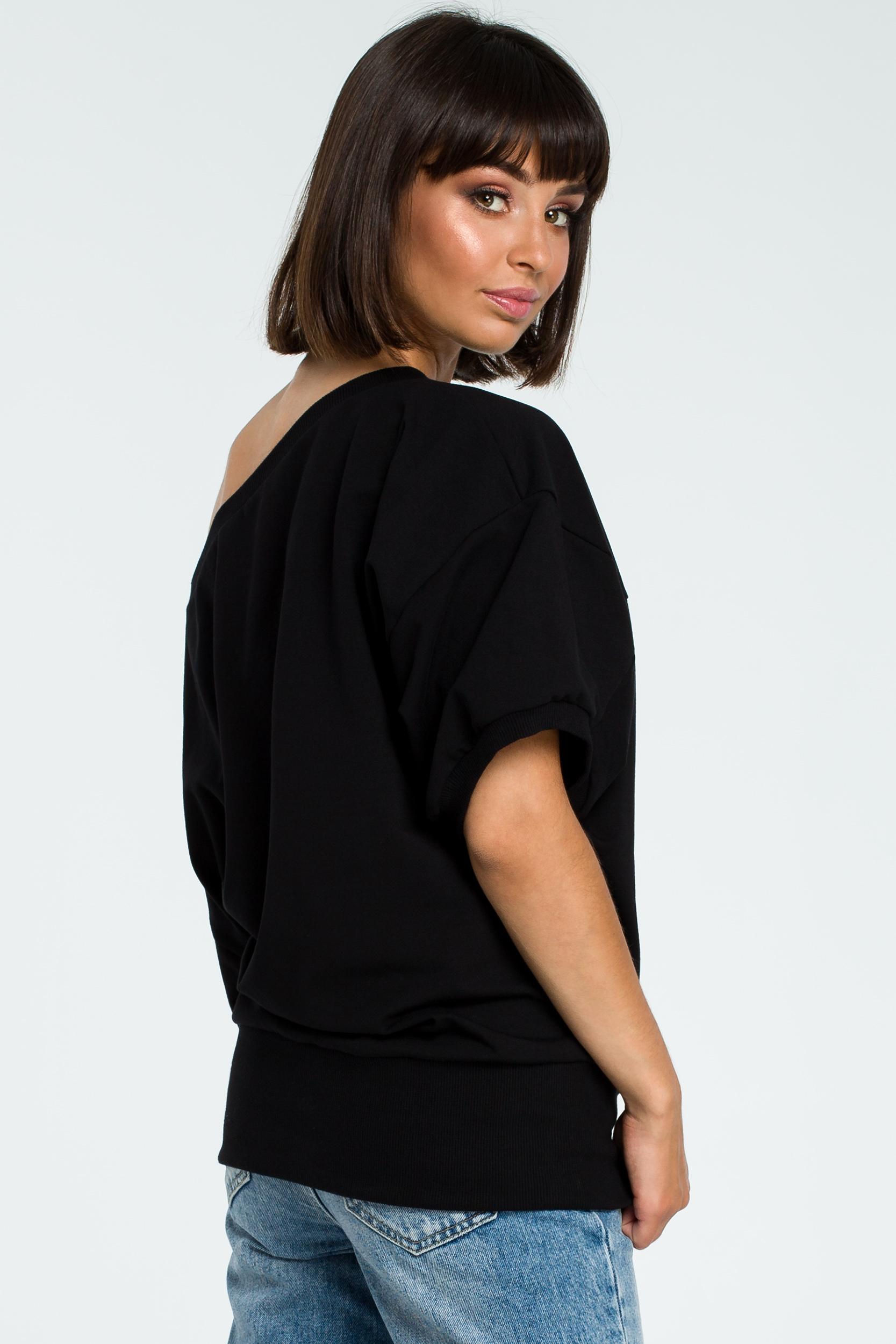 CM3755 Bluza oversize z rękawem kimono - czarna