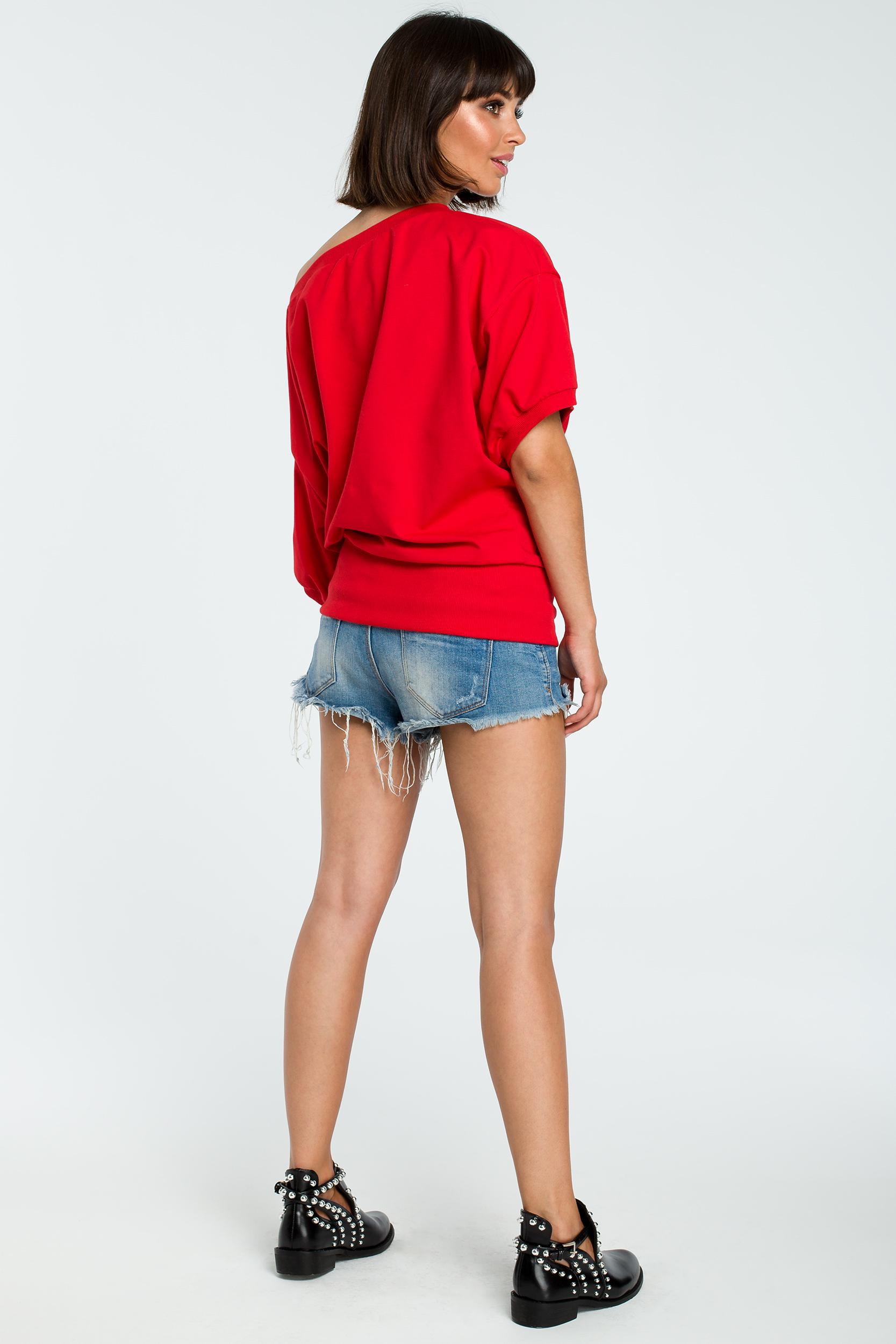 CM3755 Bluza oversize z rękawem kimono - czerwona
