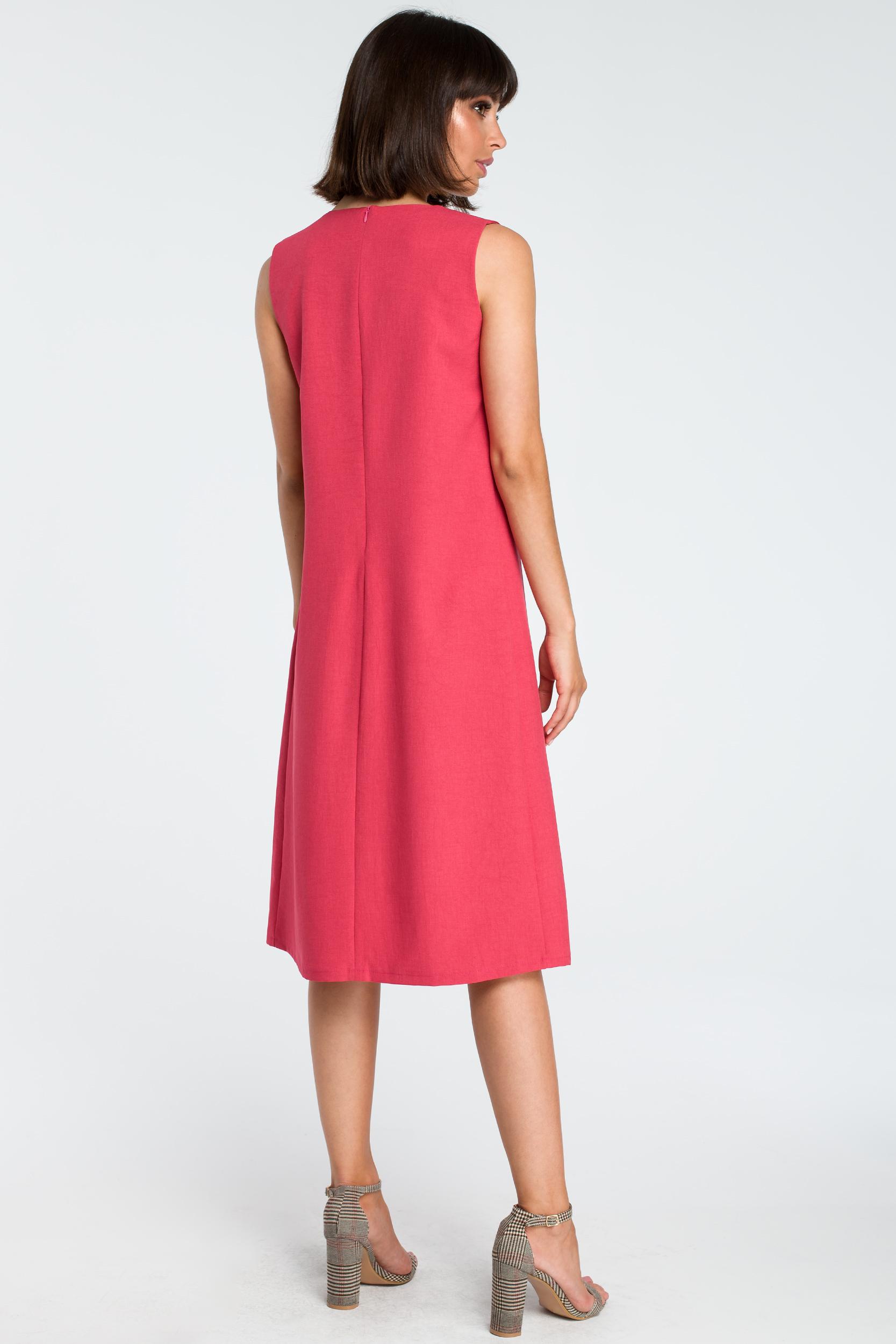 CM3756 Zwiewna sukienka midi bez rękawów - różowa
