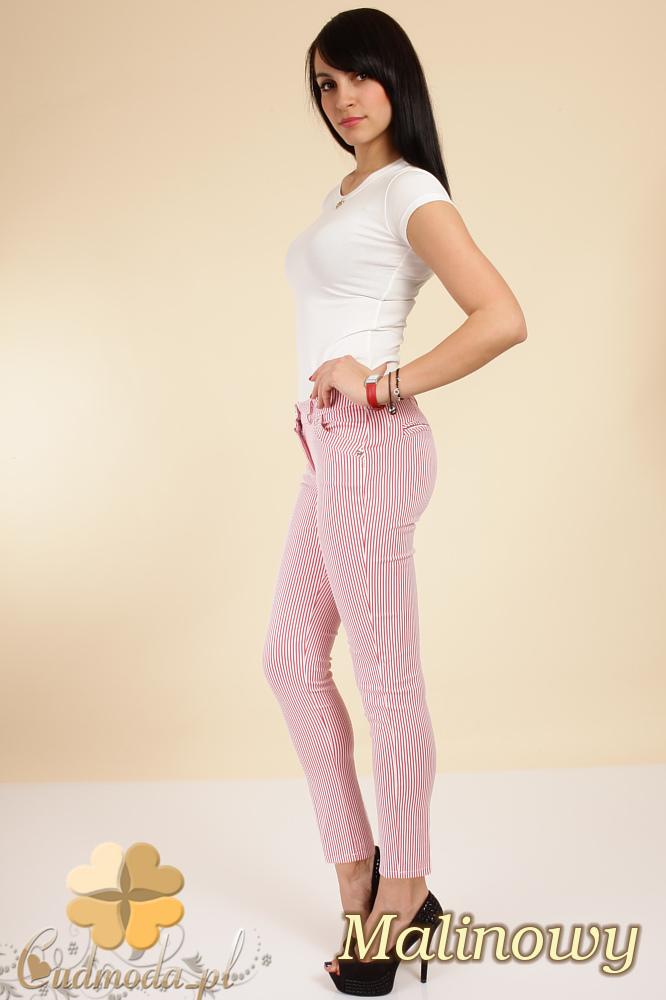 CM0258 Klasyczne elastyczne spodnie rurki w paski - malinowe