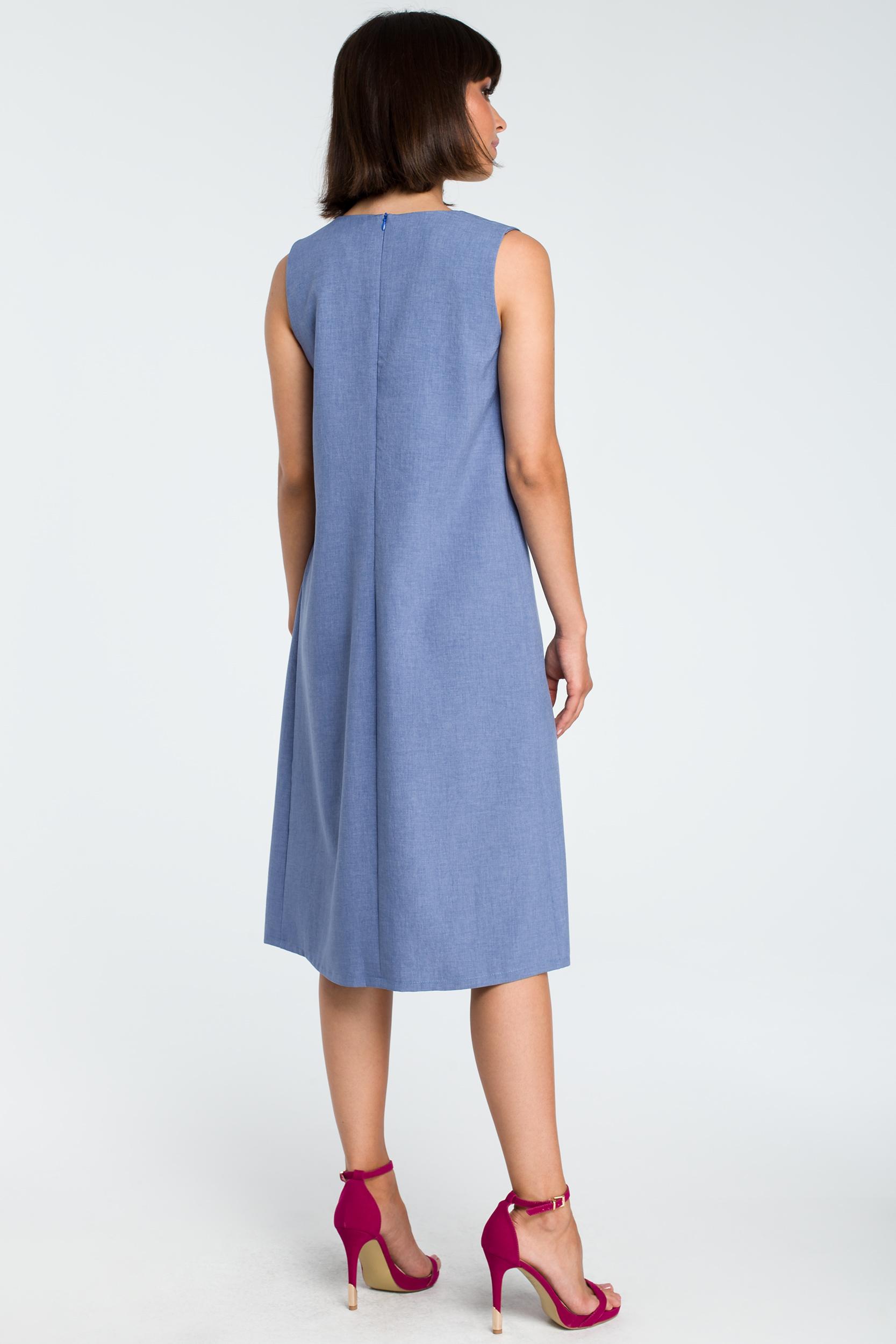 CM3756 Zwiewna sukienka midi bez rękawów - niebieska