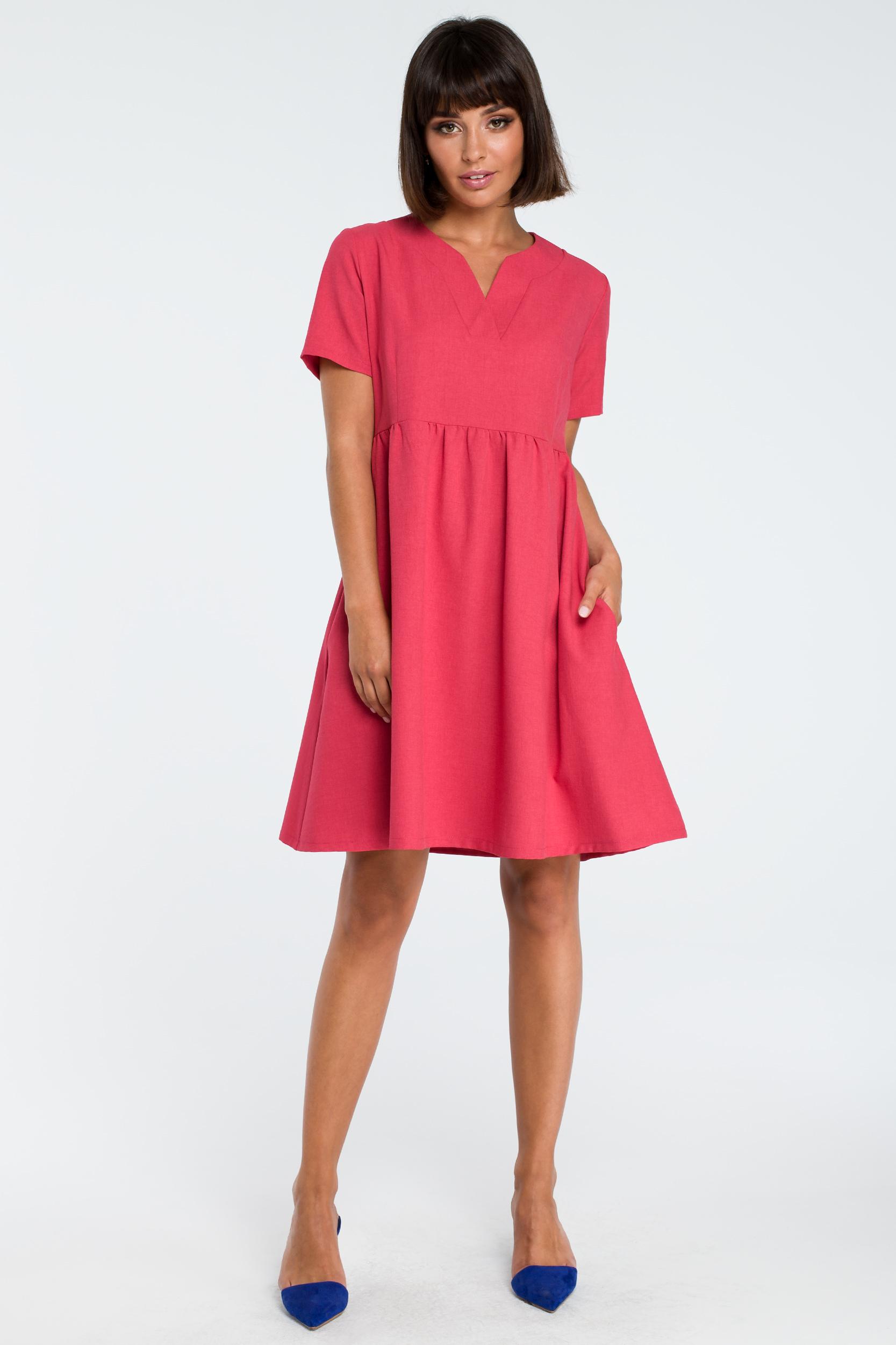 CM3757 Sukienka mini odcinana pod biustem - różowa