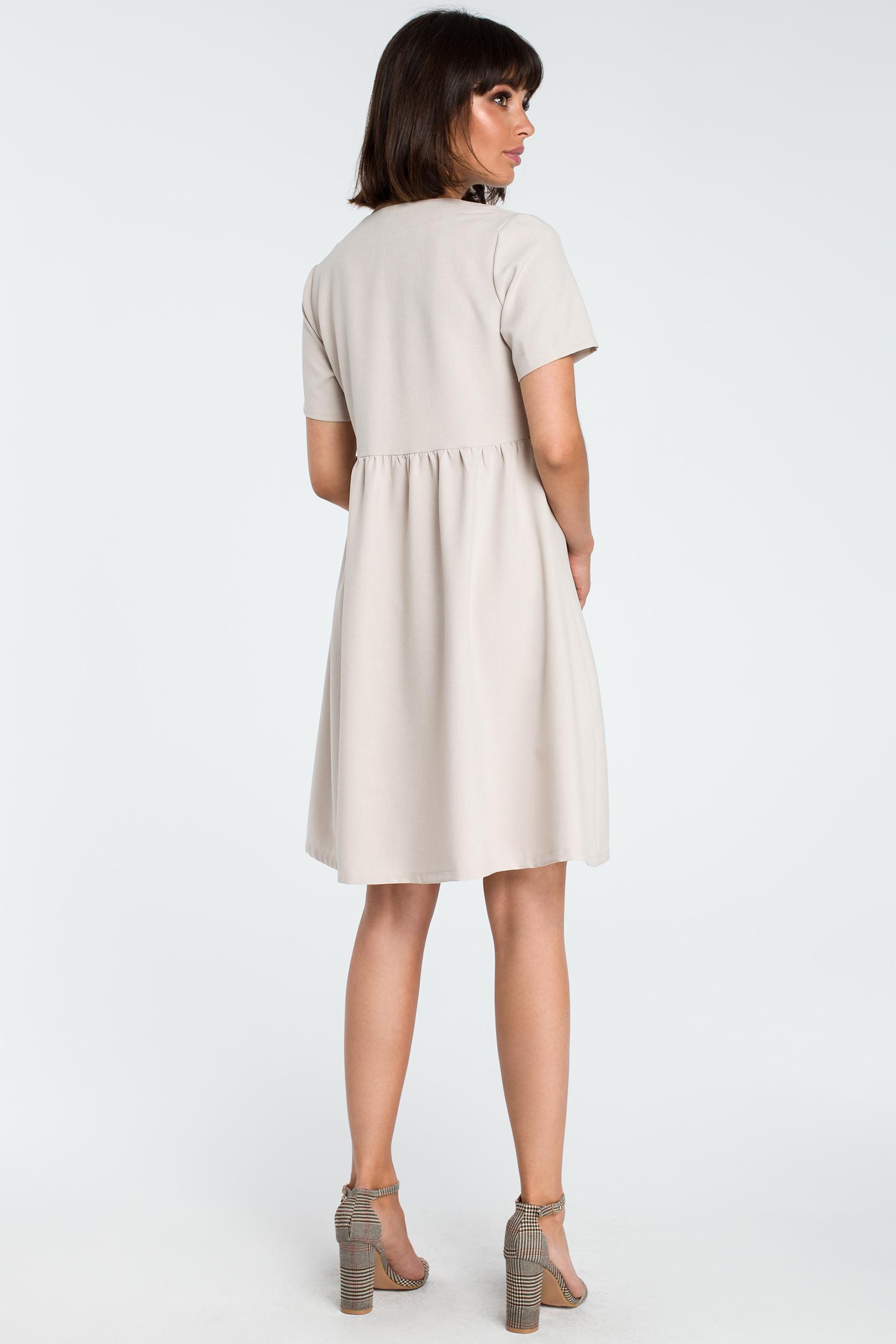 CM3757 Sukienka mini odcinana pod biustem - beżowa