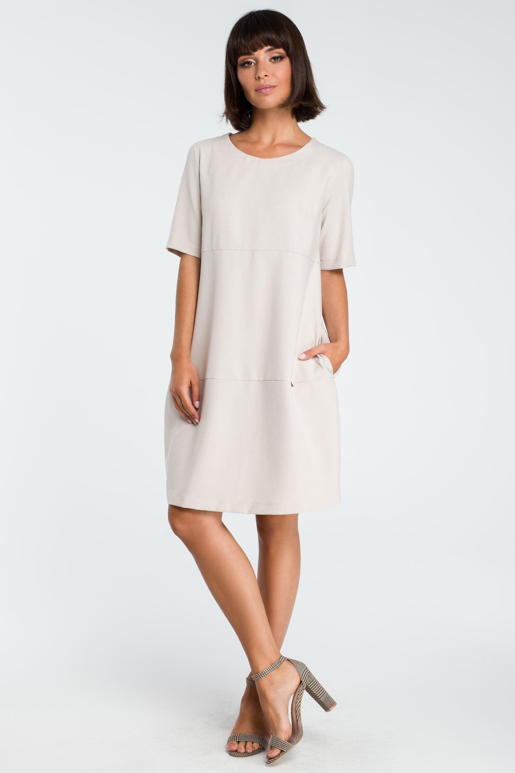 CM3758 Zwiewna sukienka bombka - beżowa
