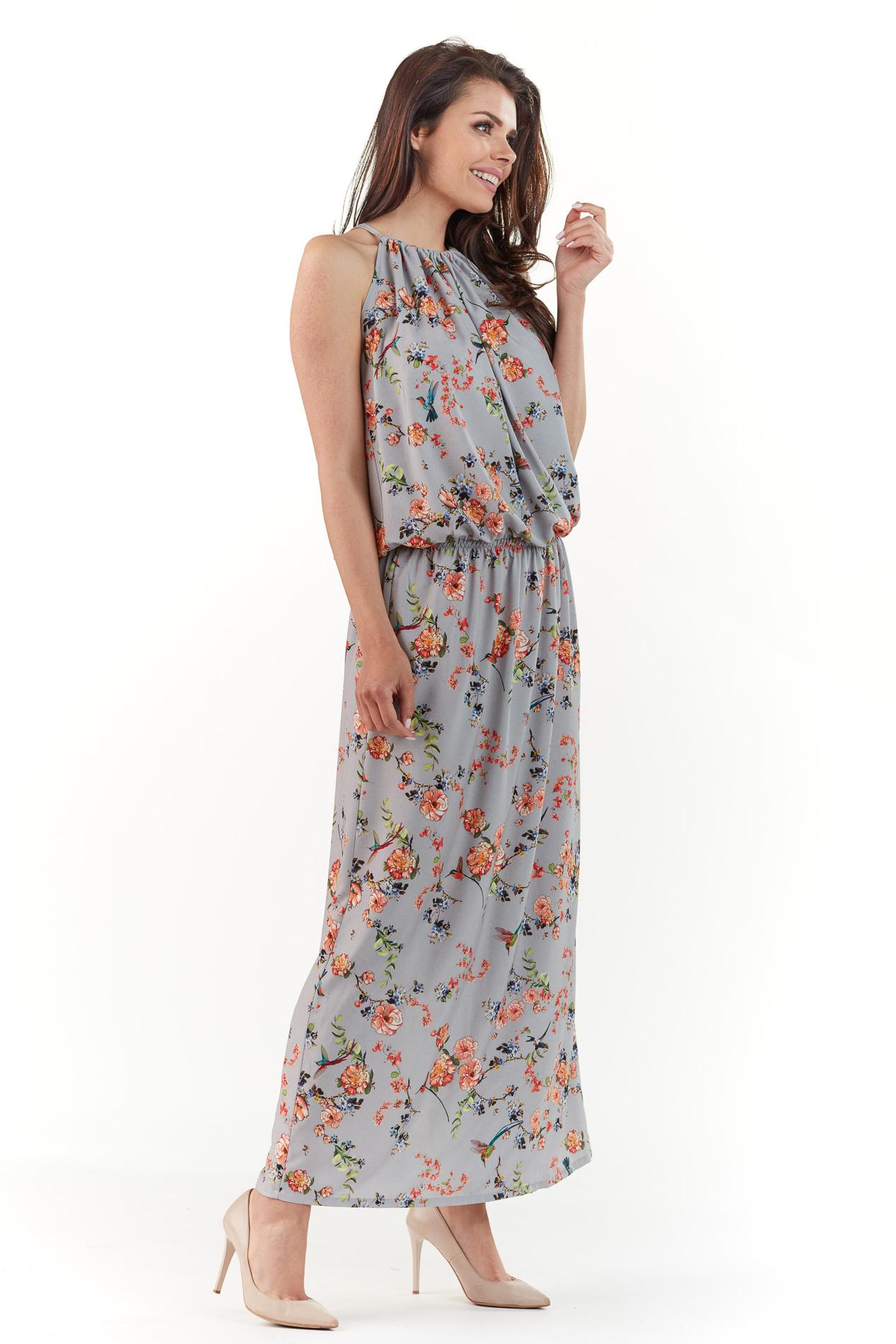 CM3761 Sukienka maxi w kwiaty - szara