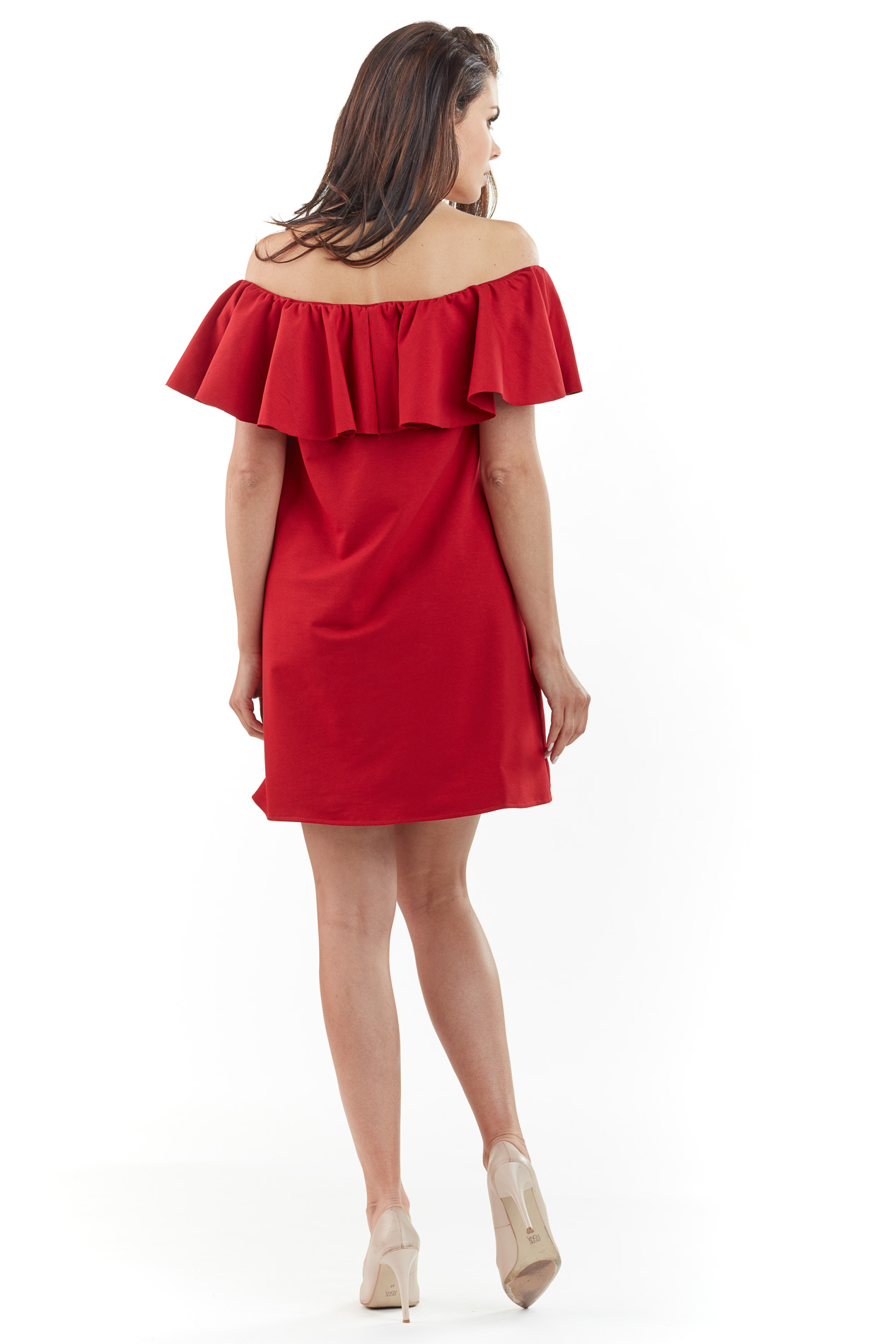 CM3762 Sukienka mini z odkrytymi ramionami - czerwona