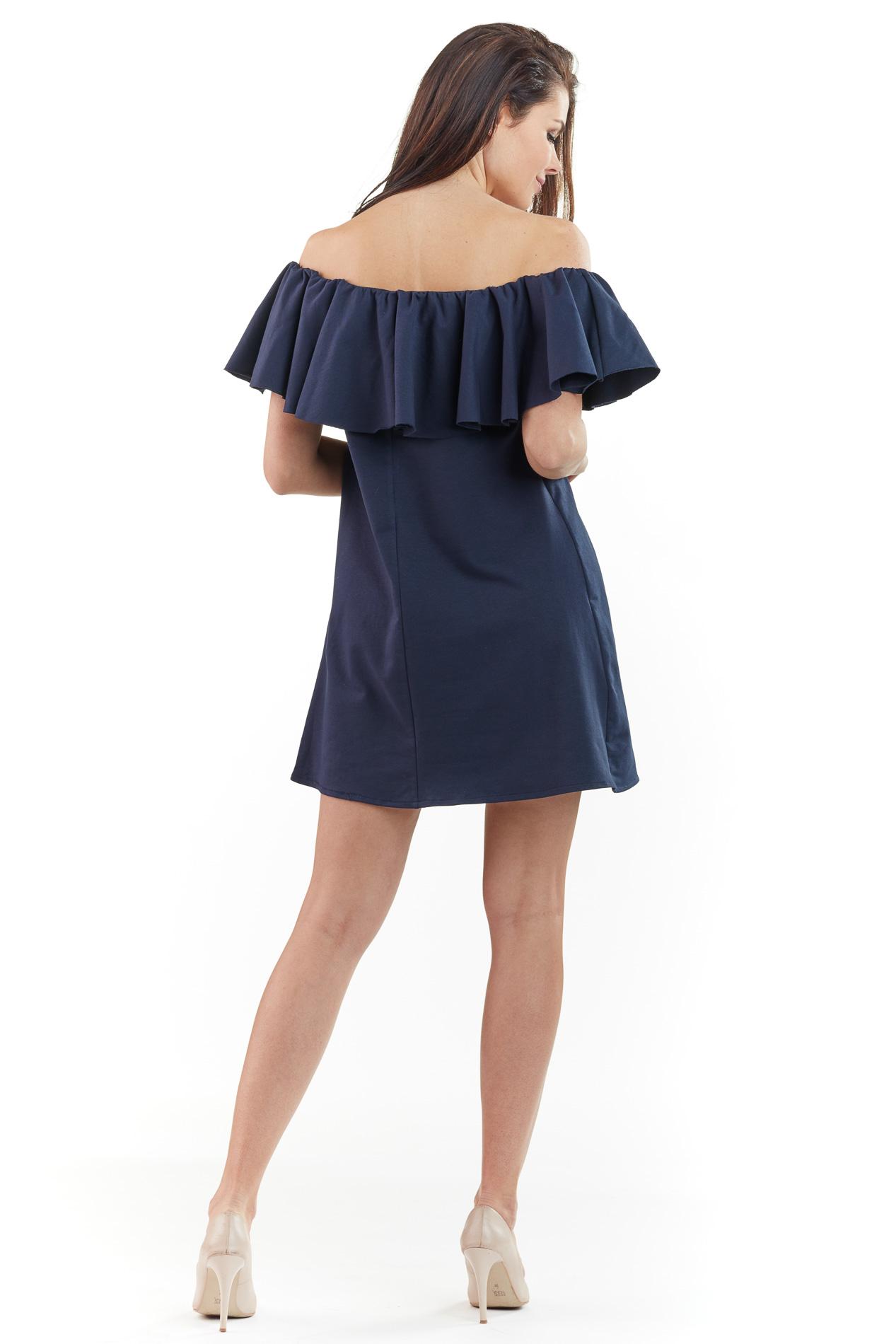 CM3762 Sukienka mini z odkrytymi ramionami - granatowa