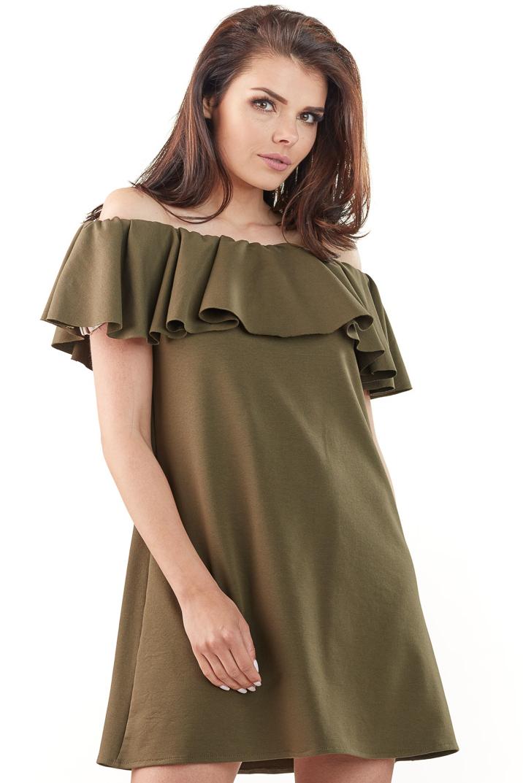 CM3762 Sukienka mini z odkrytymi ramionami - khaki