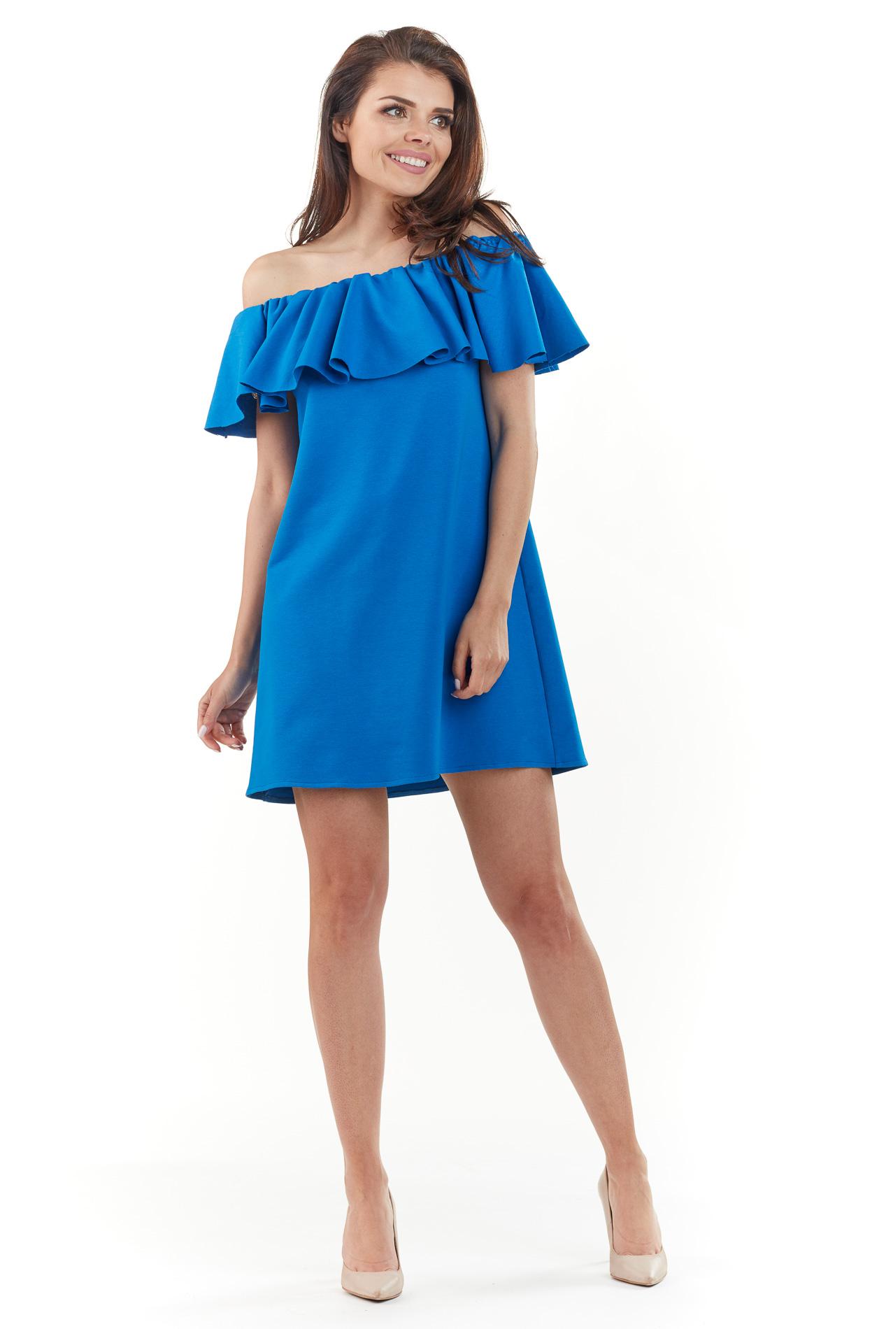 CM3762 Sukienka mini z odkrytymi ramionami - niebieska
