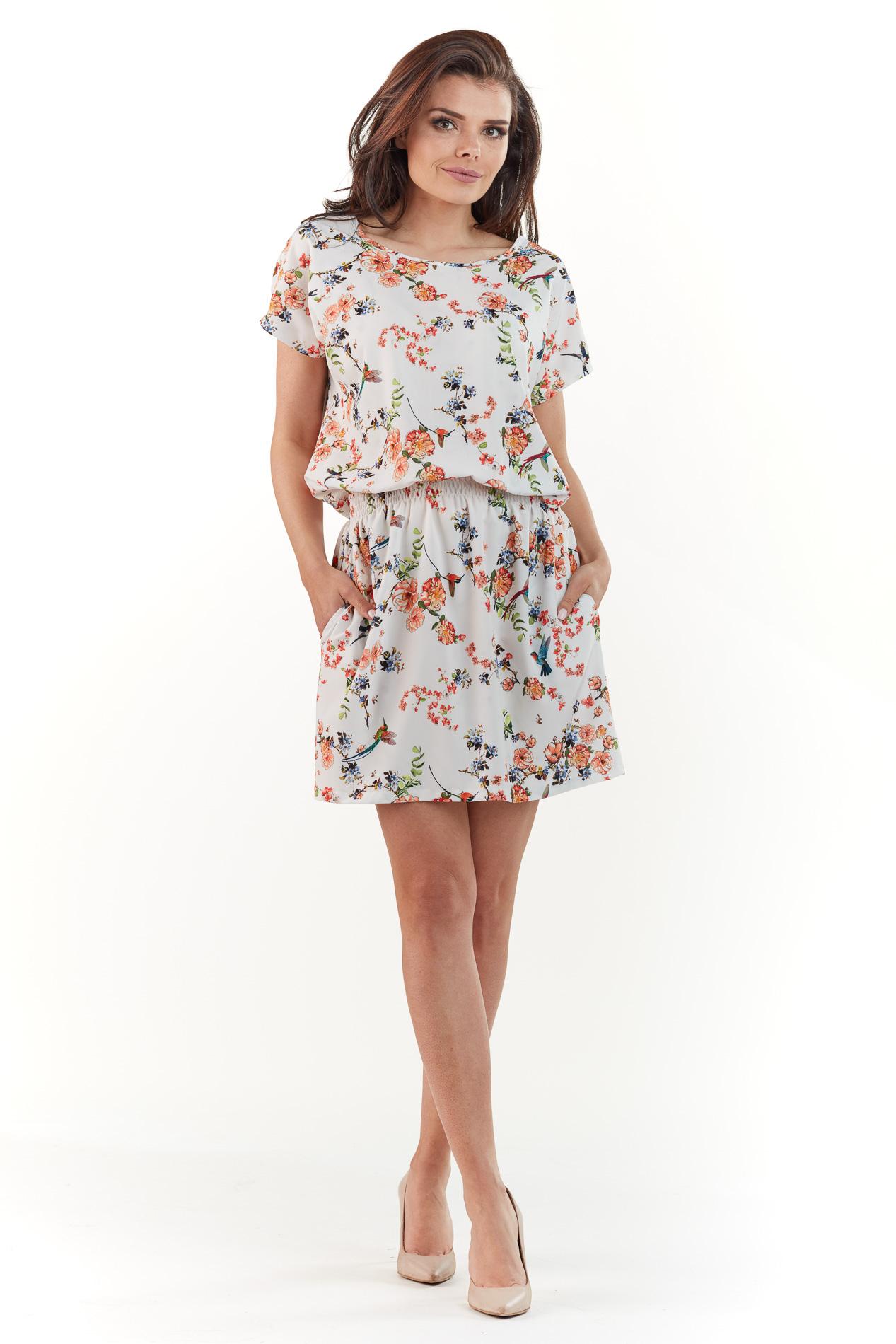 CM3763 Sukienka mini z krótkim rękawem - ecru