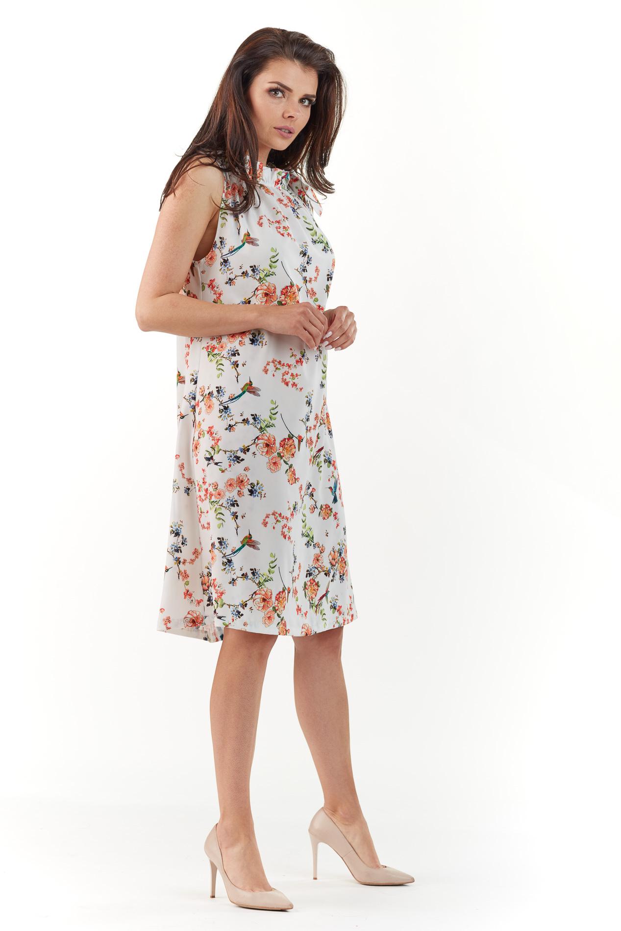 CM3766 Kobieca sukienka bez rękawów - ecru