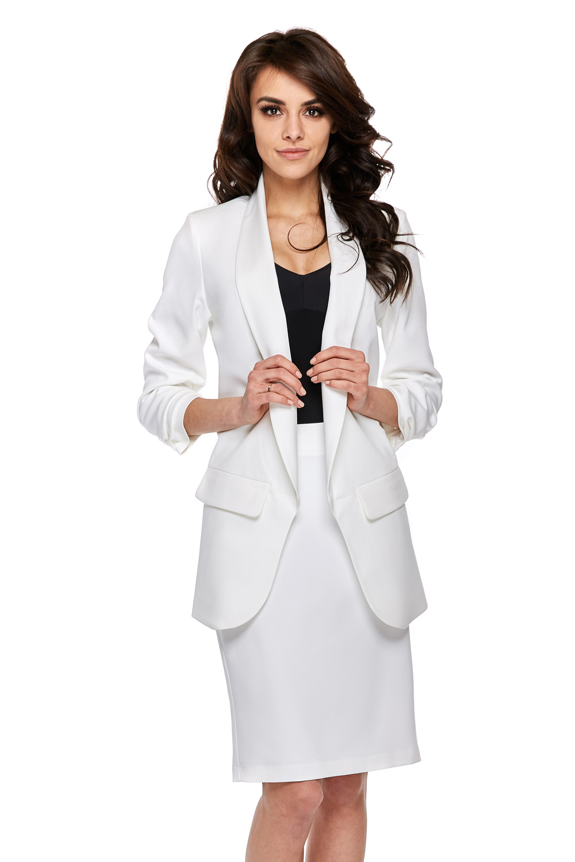 CM3768 Elegancka marynarka damska - biała