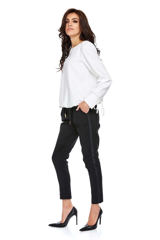 CM3769 Stylowe spodnie z lampasem - czarne