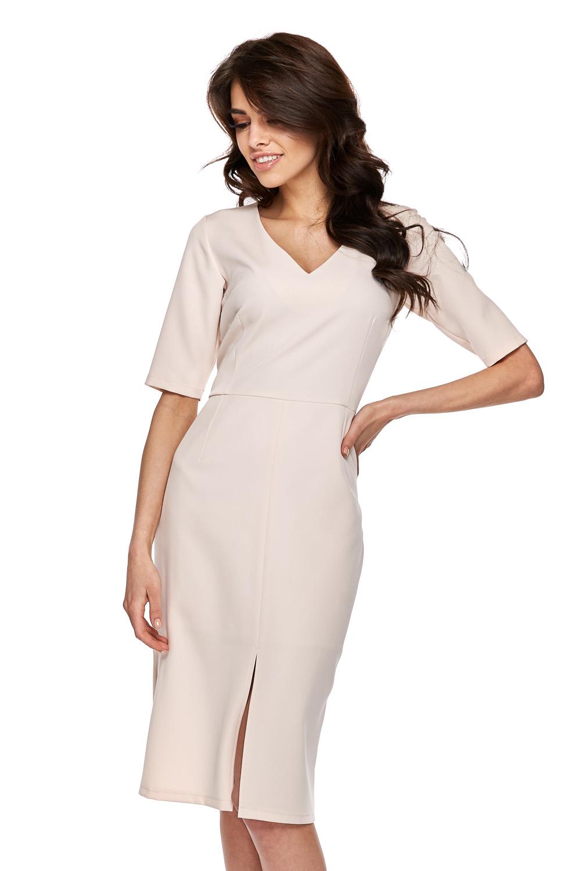 CM3770 Elegancka sukienka z krótkim rękawem - beżowa