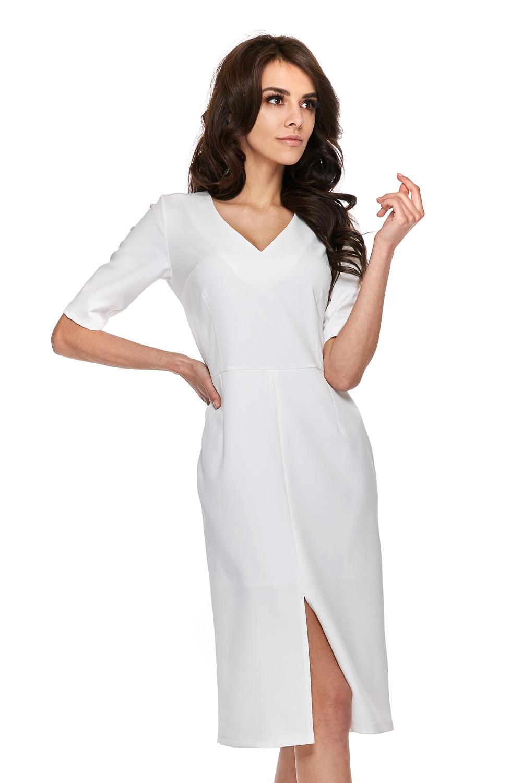 CM3770 Elegancka sukienka z krótkim rękawem - biała