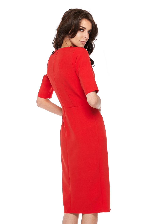 CM3770 Elegancka sukienka z krótkim rękawem - czerwona