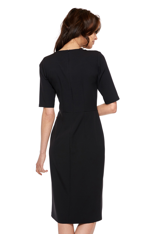 CM3770 Elegancka sukienka z krótkim rękawem - czarna