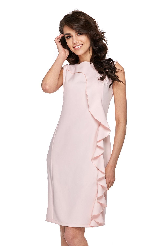CM3772 Urocza sukienka z falbanką - różowa
