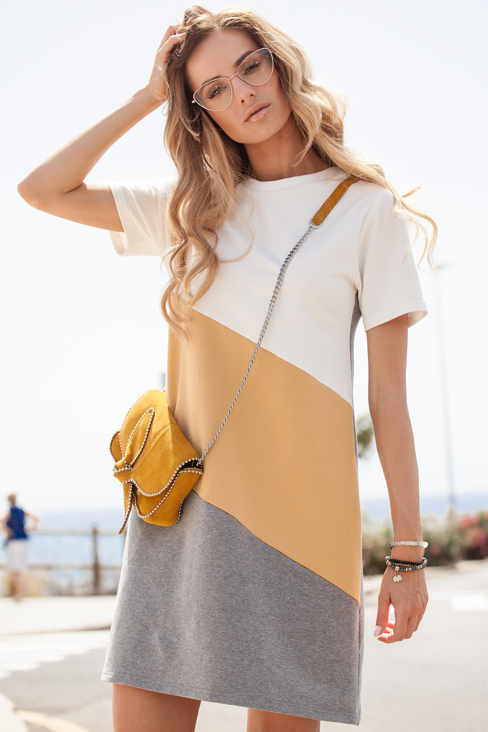 CM3633 Sukienka mini w 3 kolory - żółta