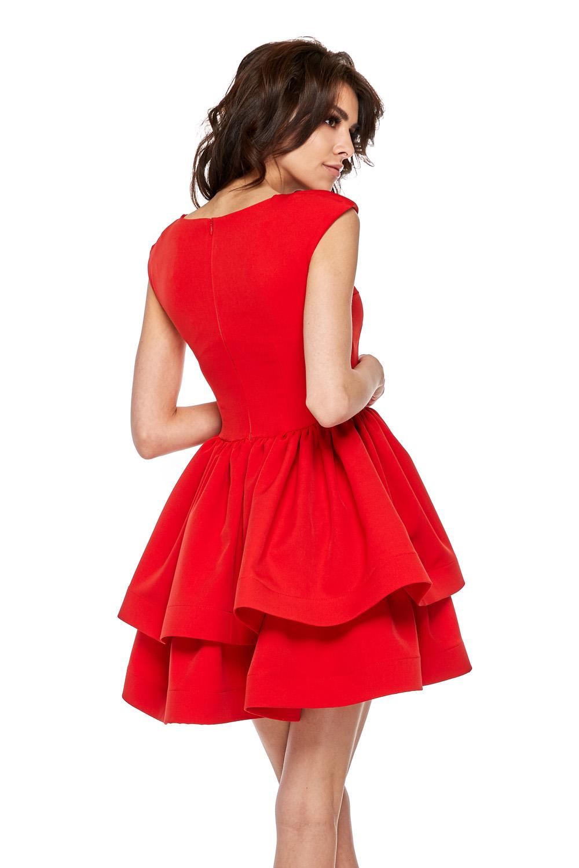 CM3775 Koktajlowa sukienka na wesele - czerwona