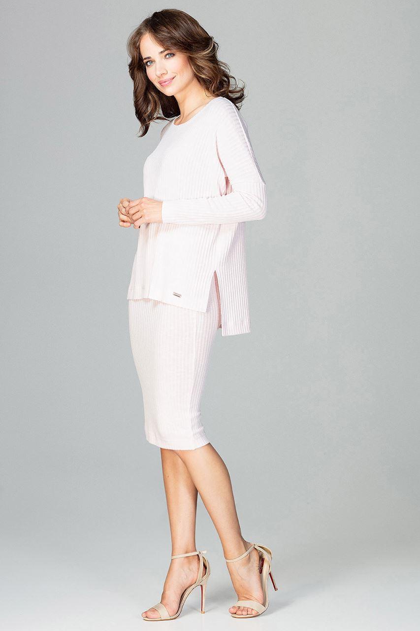 CM3777 Komplet - spódnica za kolano i luźna bluzka - różowy