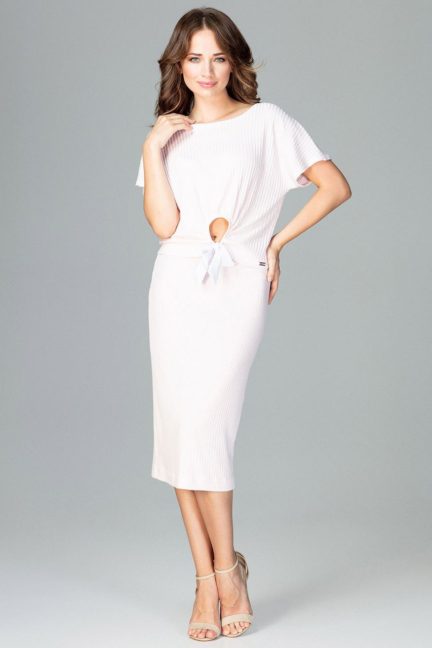 CM3780 Komplet - bluzka ze spódnicą - różowa