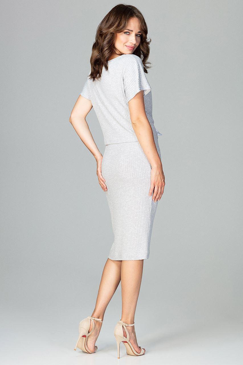 CM3780 Komplet - bluzka ze spódnicą - szara