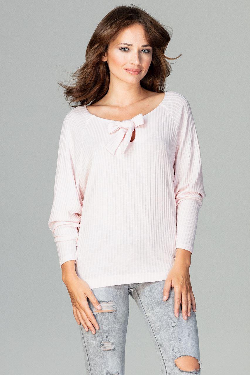 CM3782 Lekka dzianinowa bluzka - różowa