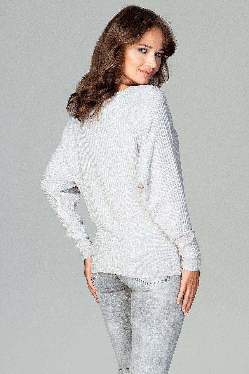 CM3782 Lekka dzianinowa bluzka - szara