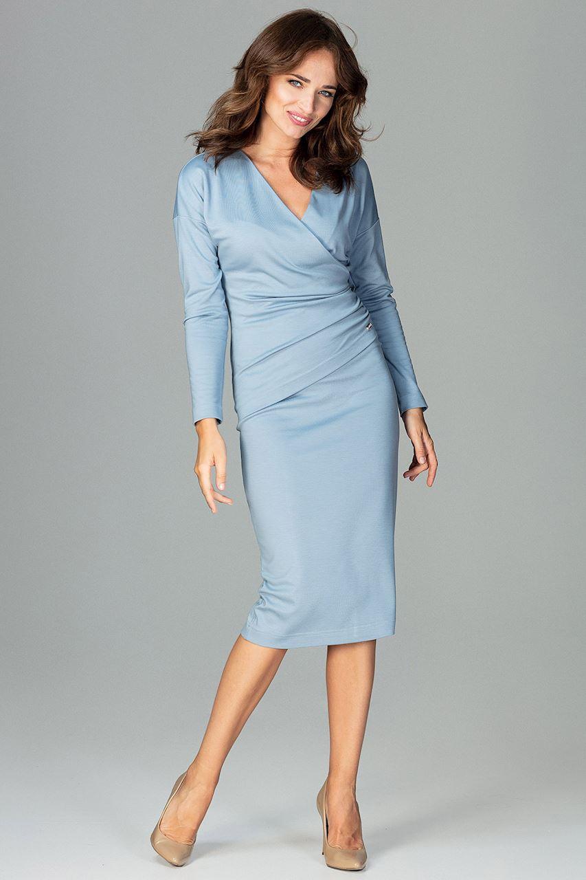 CM3791 Sukienka z dekoltem i marszczeniem - niebieska