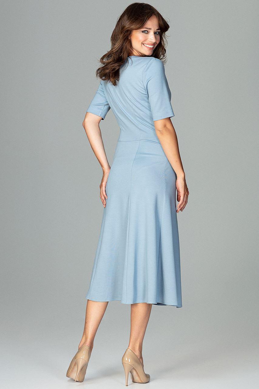 CM3792 Koktajlowa sukienka w kliny - niebieska
