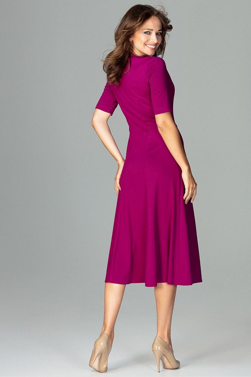 CM3792 Koktajlowa sukienka w kliny - fuksja