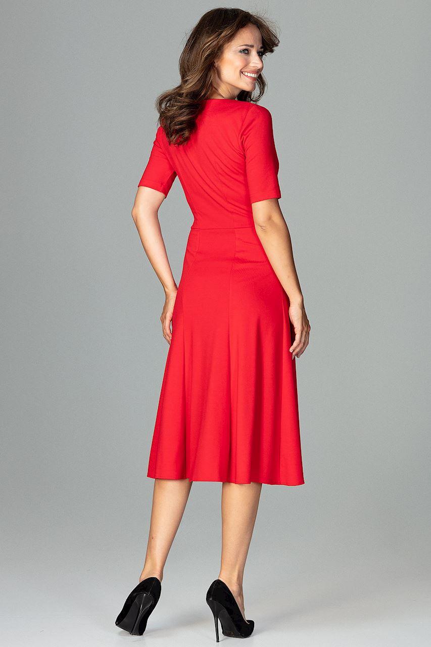 CM3792 Koktajlowa sukienka w kliny - czerwona