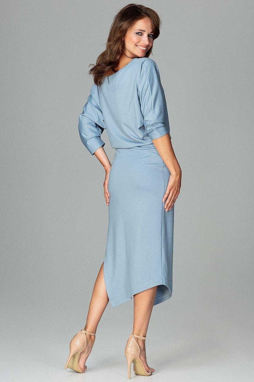 CM3793 Asymetryczna sukienka z rękawem kimono - niebieska