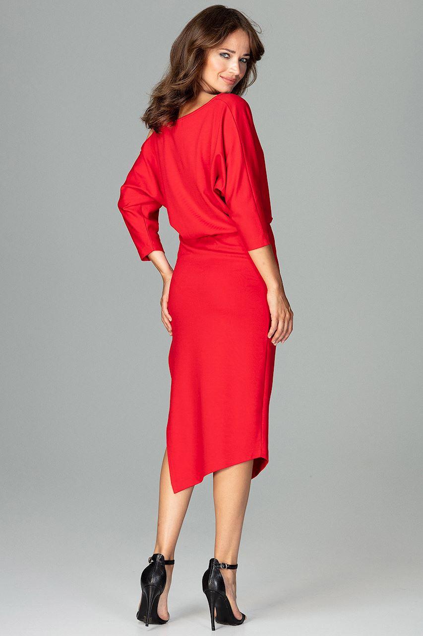 CM3793 Asymetryczna sukienka z rękawem kimono - czerwona