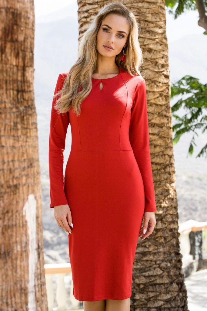 CM3054 Sukienka z cięciami i opuszczonym ramieniem - czerwona
