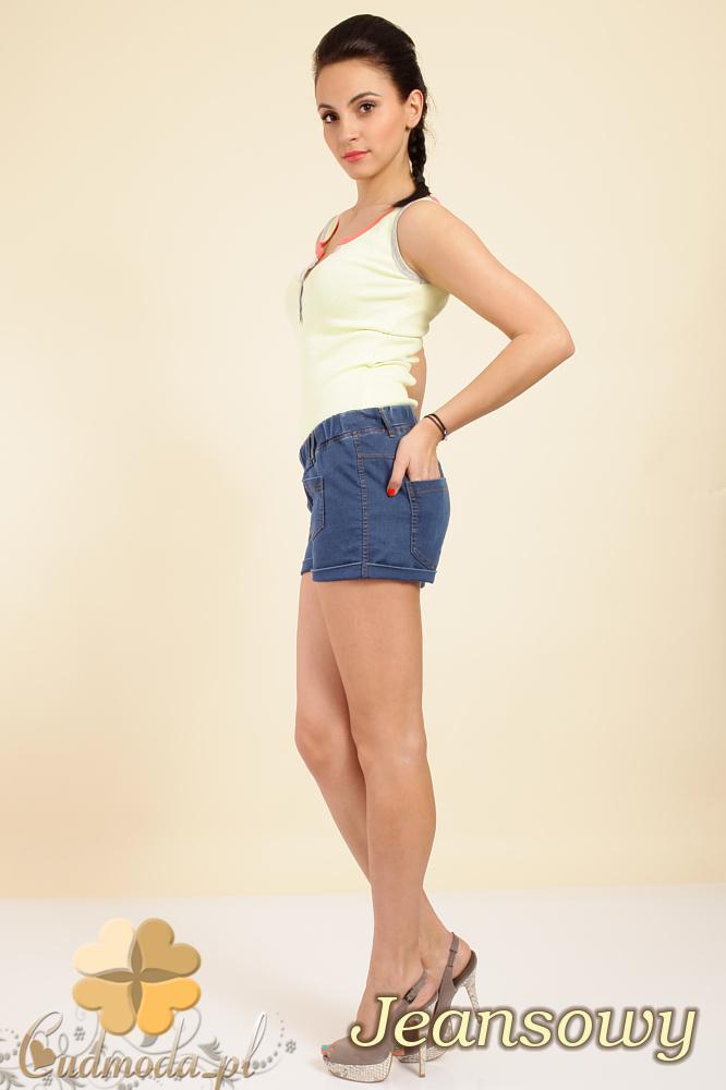 CM0264 Włoskie krótkie spodenki szorty jeans - jeansowe