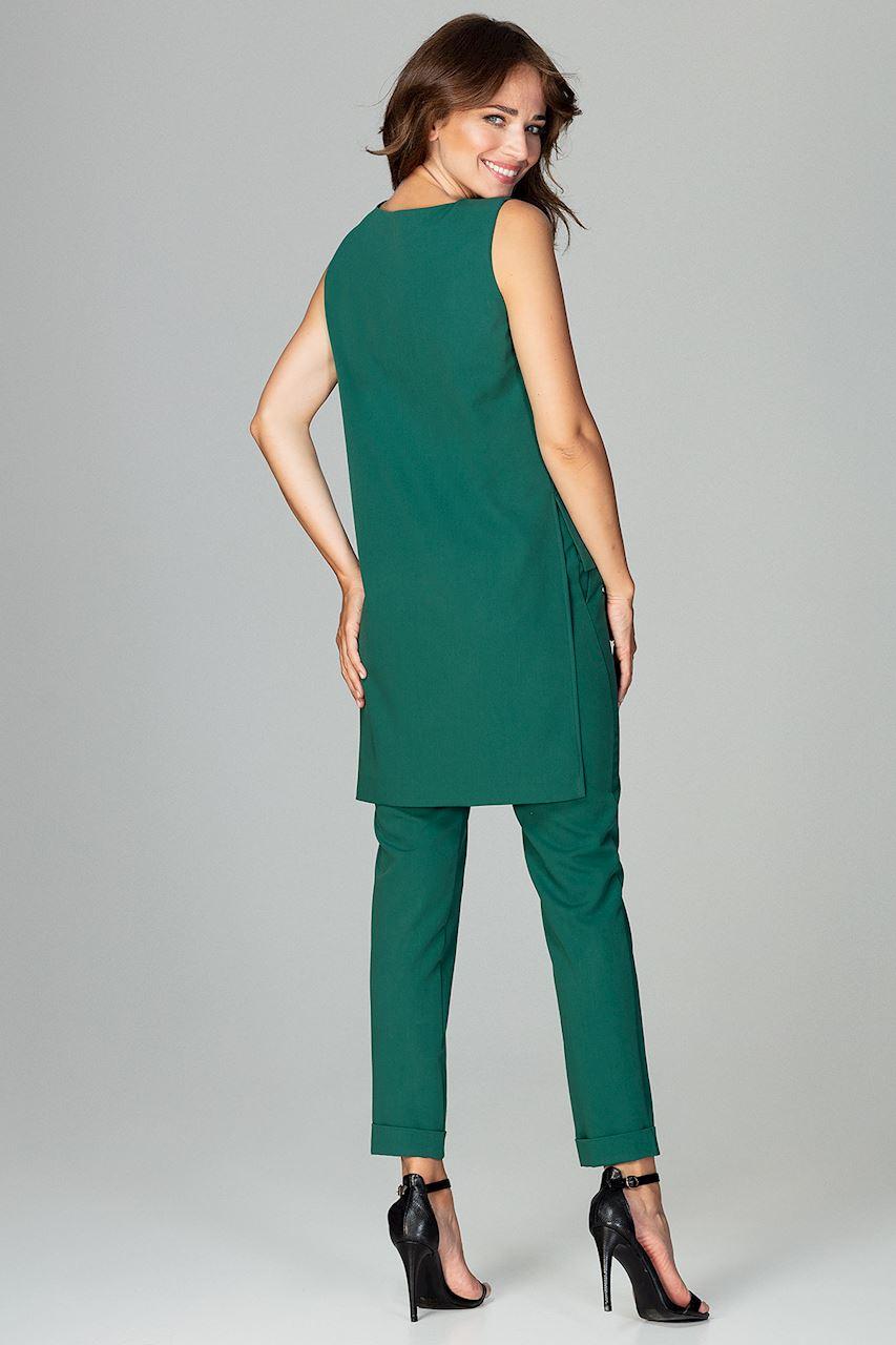 CM3796 Komplet - asymetryczna bluzka i klasyczne spodnie - zielony