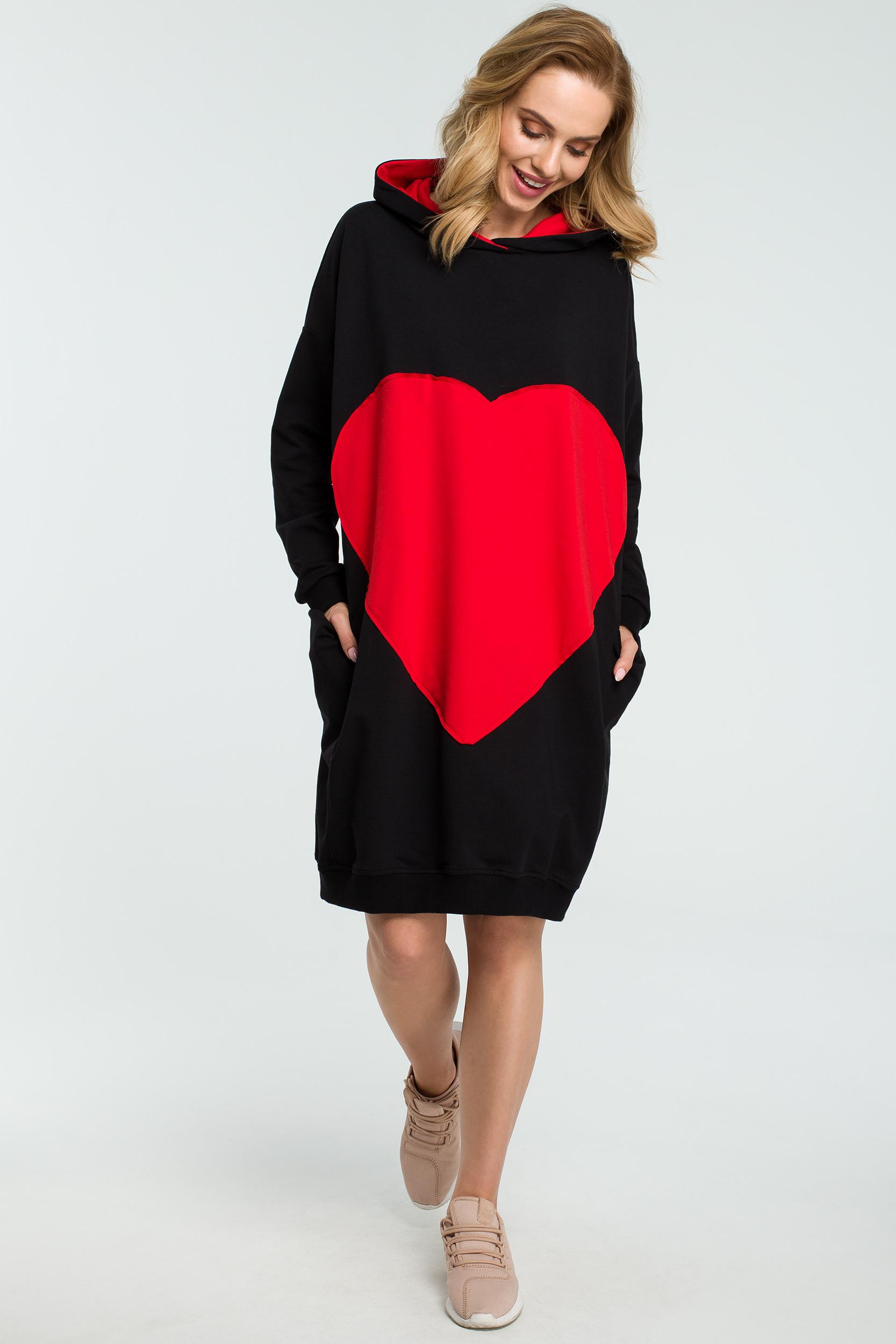 7ccc03c3f9 CM3801 Dresowa sukienka z sercem - czarna ...