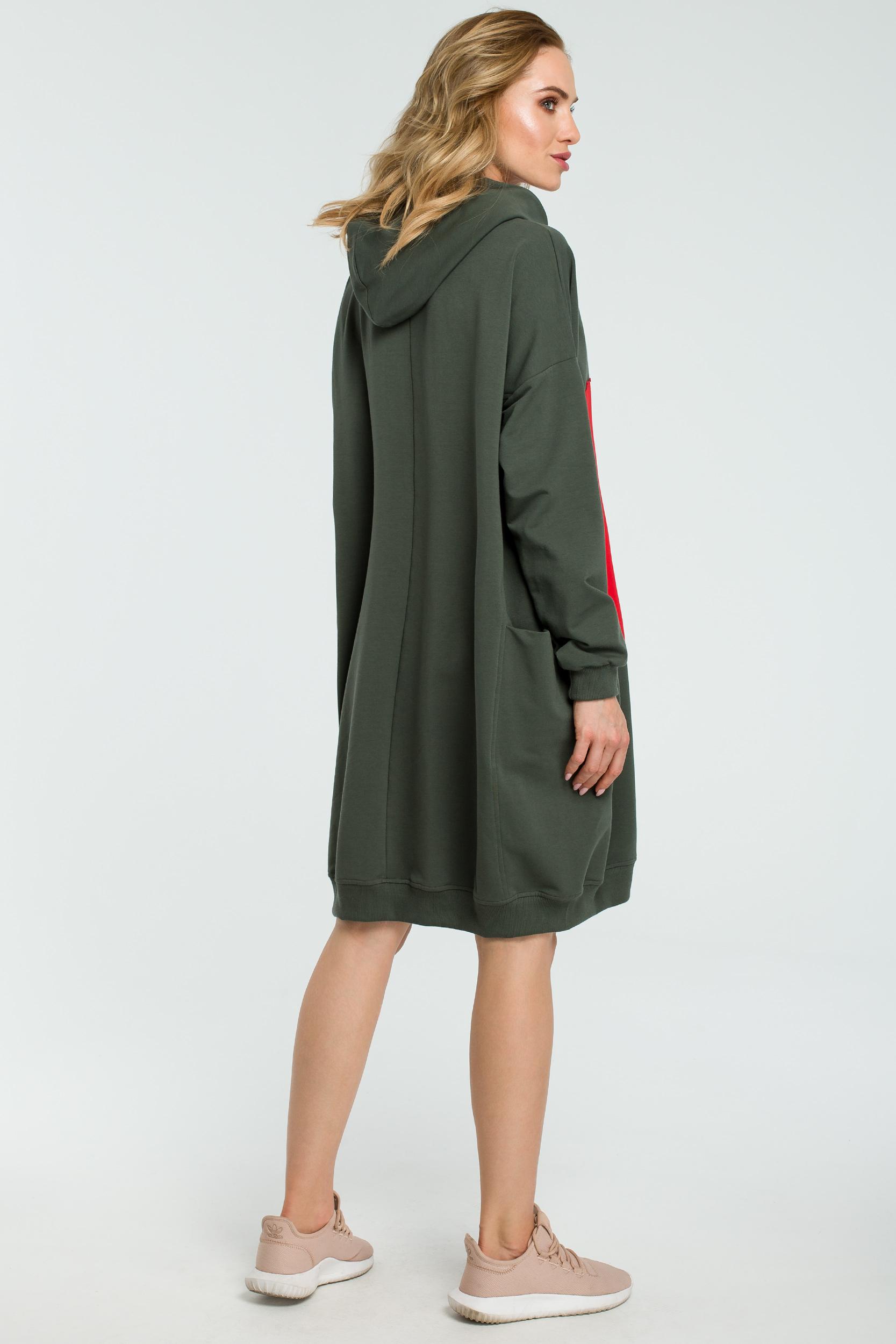 CM3801 Dresowa sukienka z sercem - militarno-zielona