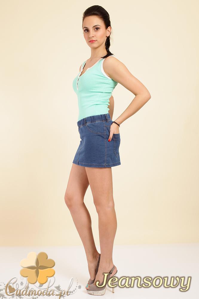 CM0259 Włoska mini spódniczka jeans z kieszeniami - jeansowa