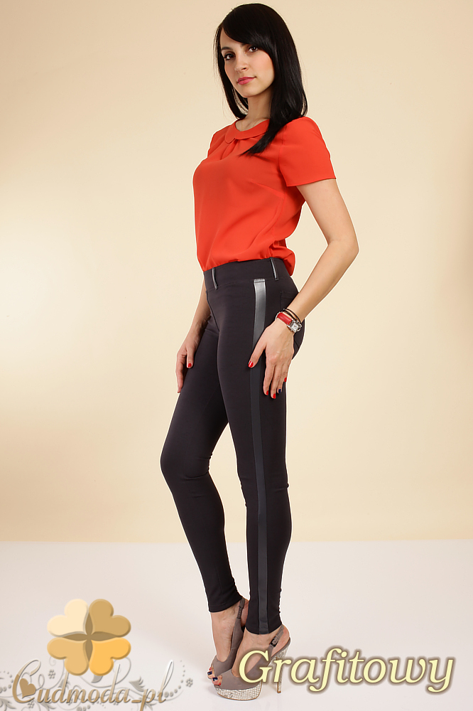 CM0159 Włoskie legginsy ze skórzaną wstawką na nogawce - grafitowe